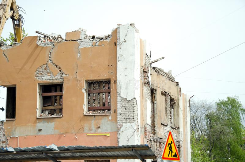 Demolition of the old house and sign. royalty free stock images