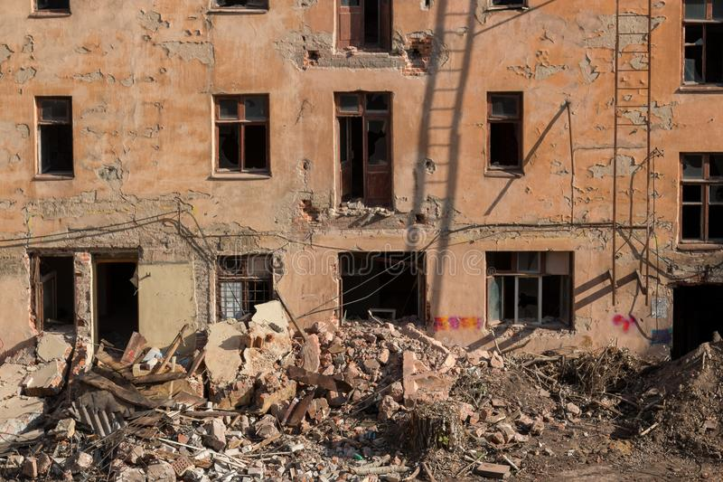 Demolition of an apartment house stock image