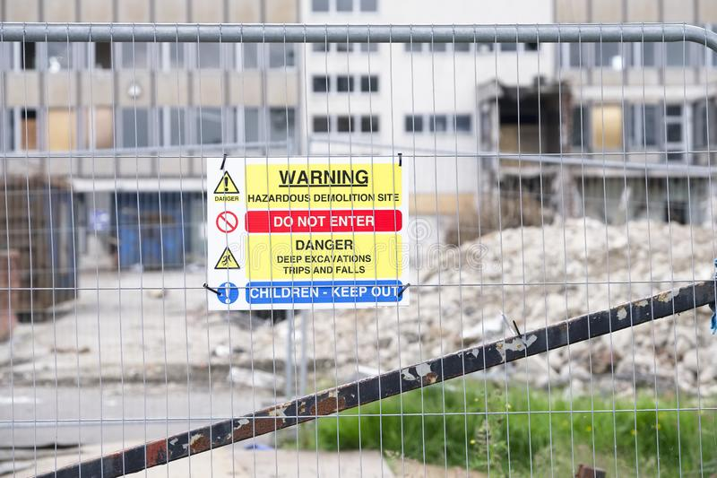 Demolition site building collapse hazard danger sign. Uk stock photography