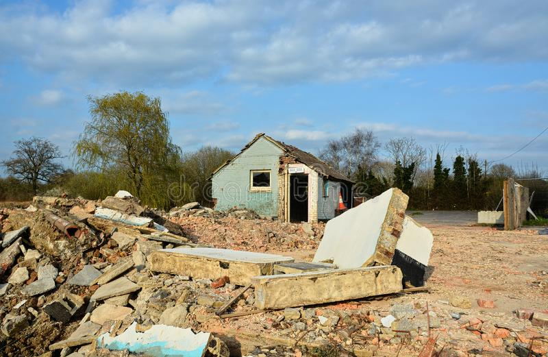 Site clearance and Demolition of a Public House pub stock images