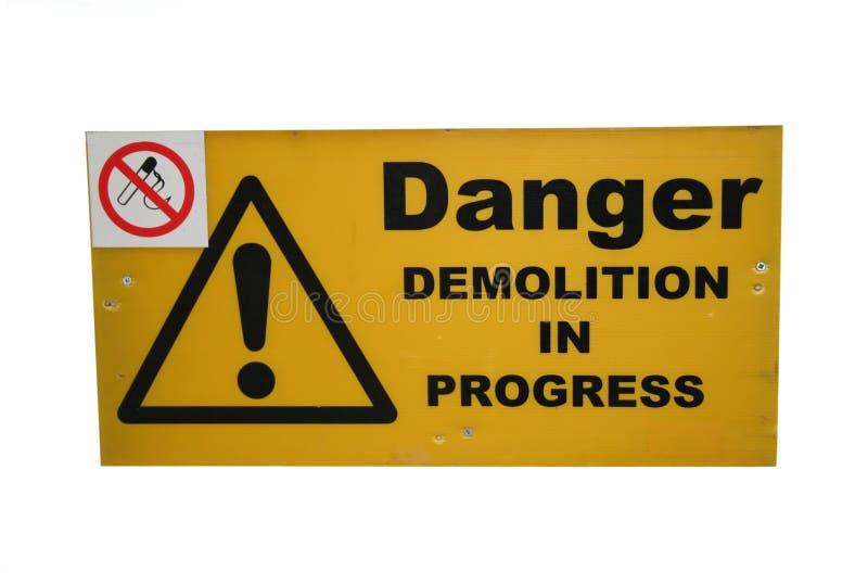 Demolition site sign stock image