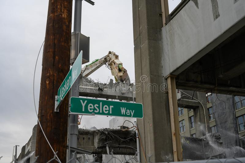 Seattle Viaduct demolition Alaskan & Yesler. Demolition teams dismantle the Alaskan way Viaduct on the Seattle Waterfront as part of 5 year waterfront royalty free stock photos