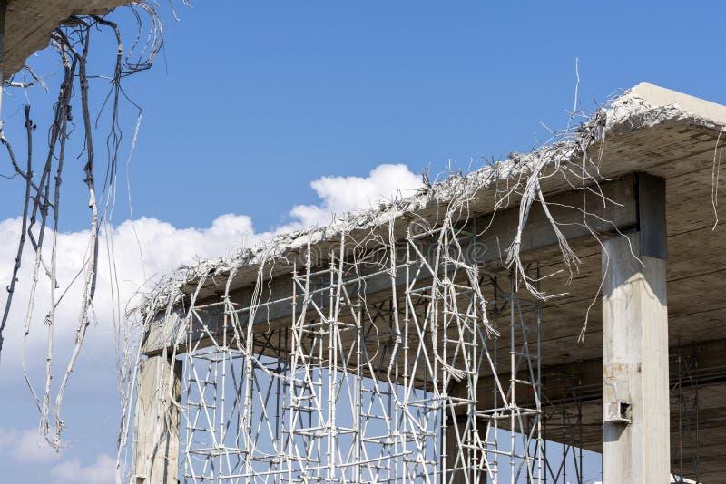 Demolition of an urban bridge stock images