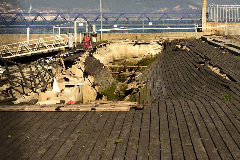 Demolition of the wooden bridge. royalty free stock photo