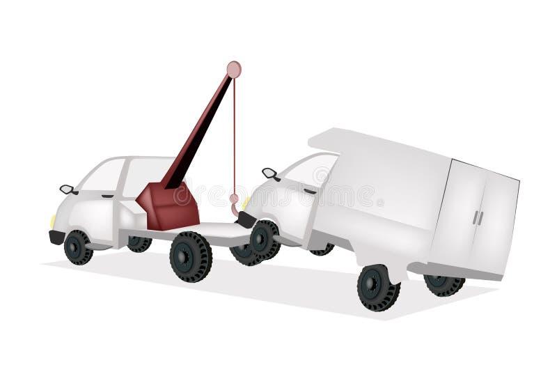 Demolitore Tow Truck Pulling un'automobile dopo un incidente royalty illustrazione gratis