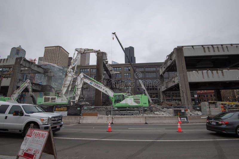 Demolizione del viadotto di Seattle d'Alasca & Yesler immagini stock libere da diritti