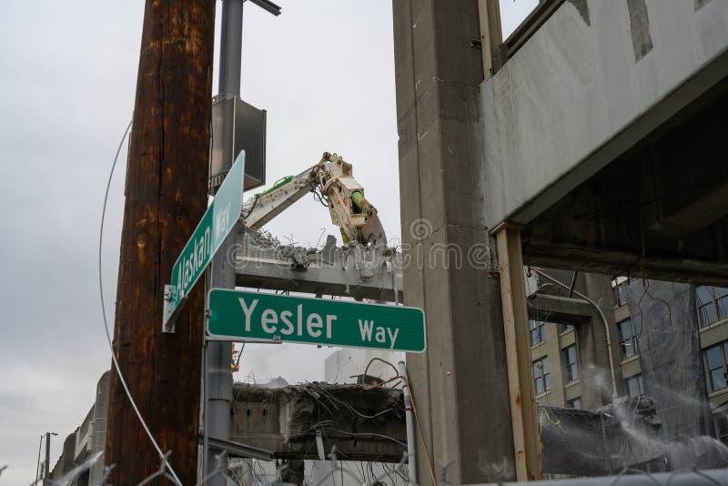 Demolizione del viadotto di Seattle d'Alasca & Yesler fotografie stock libere da diritti