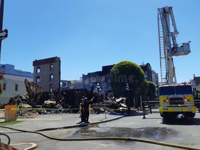 Demolizione di costruzione dopo fuoco fotografia stock libera da diritti