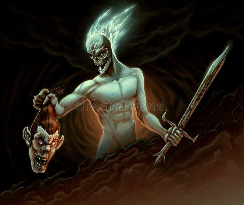 Demon in the battle. Raster illustration stock illustration