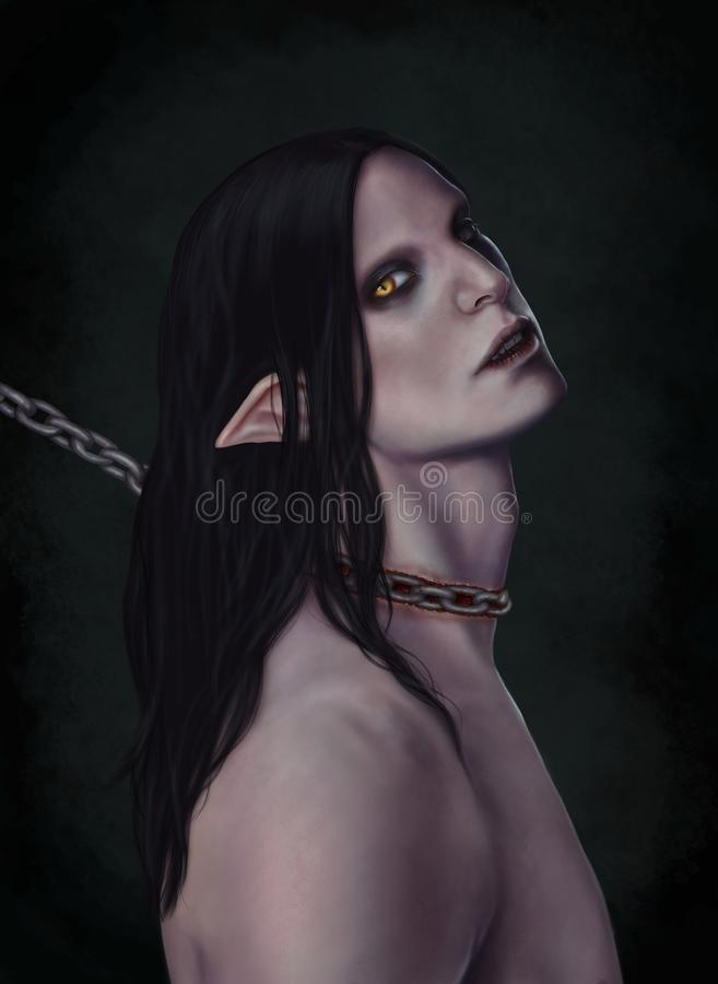 The demon chained. stock illustration