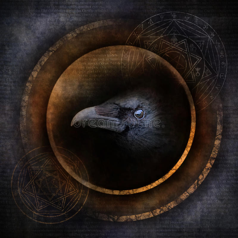 Demon Crow. With a sinister crow head materialising within an elaborate circular emblem of mysterious and arcane occult symbolism stock images