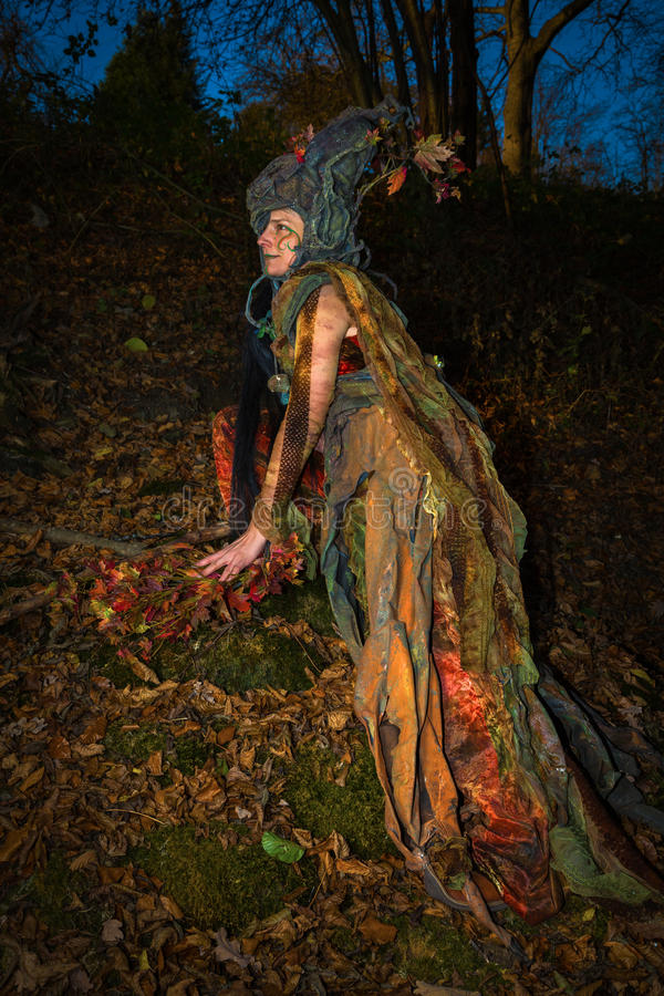 Demon. Female forest demon at autumn stock image