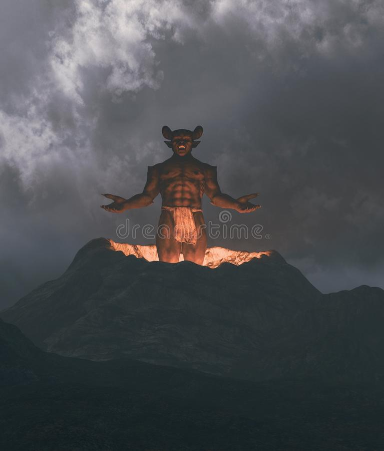 Demon flying out from crater. 3d illustration vector illustration