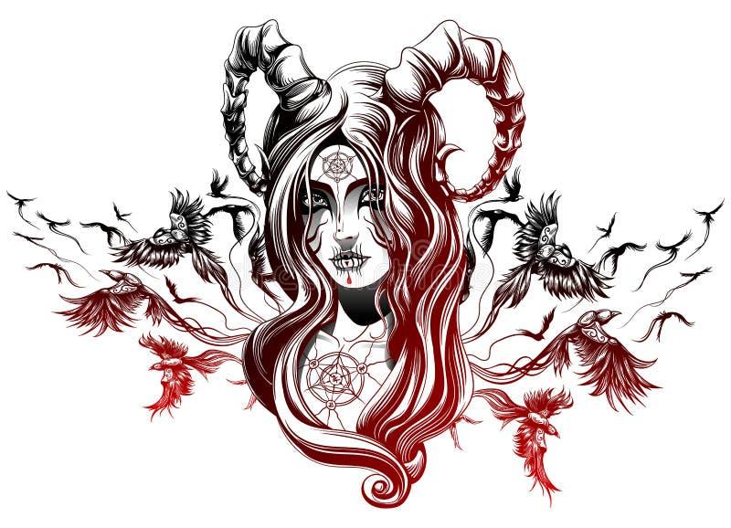 A demon girl. Demon girl with birds behind stock illustration