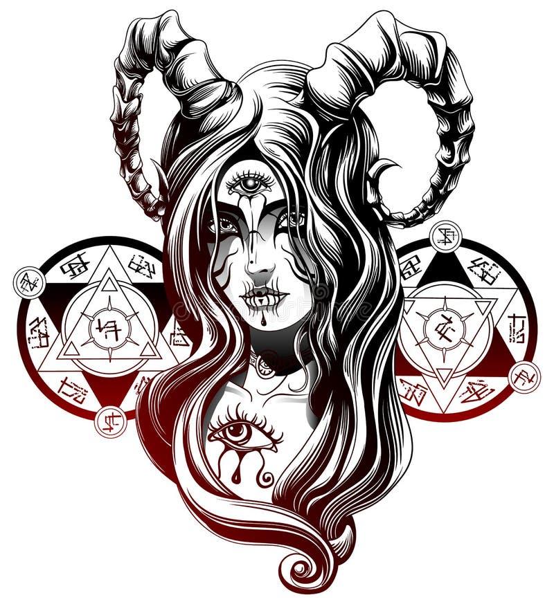 A demon girl. Demon girl with the third eye vector illustration