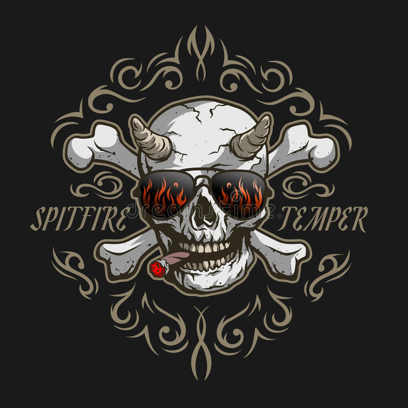 Demon in glasses and a cigar. Bones of the skull. Demon in glasses and a cigar on a dark background with a pattern royalty free illustration