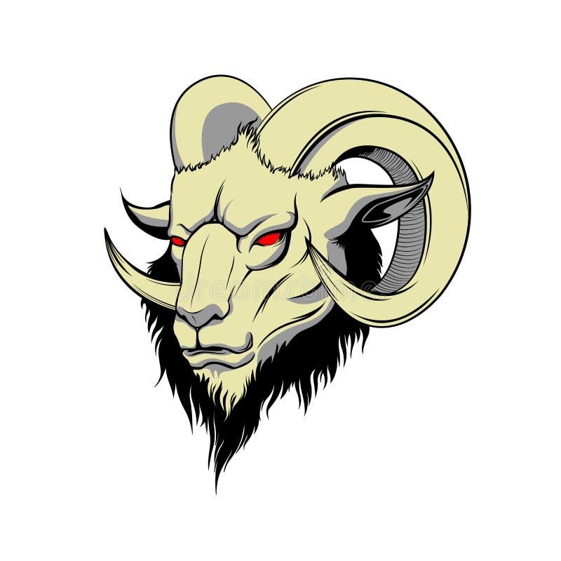 Demon goat head. Satanic goat head. Binary satanic symbol. Vector illustration isolated. Tattoo design, retro, music, summer, prin royalty free stock photo