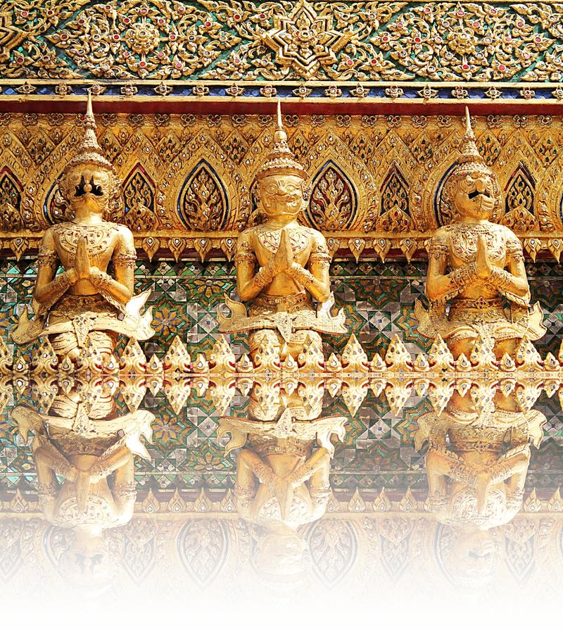 Demon Guardian Statues at Wat Phra Kaew stock photo