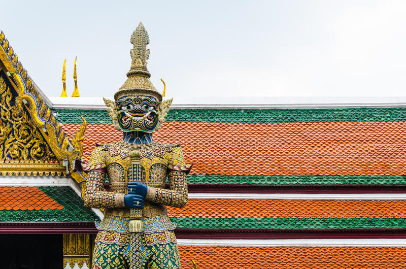 Download Demon Guardian At Wat Phra Kaew, Temple Of The Emerald , Bangkok Stock Photo - Image of gold, phra: 34331446
