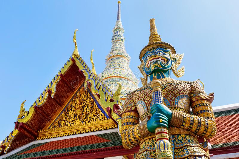 Demon Guardian in Wat Phra Kaew Temple of the Emerald Buddha, Grand Palace in Bangkok, Thailand.  stock images