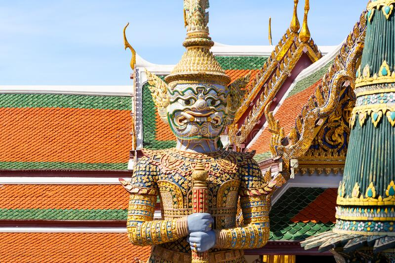 Demon Guardian in Wat Phra Kaew Temple of the Emerald Buddha, Grand Palace in Bangkok, Thailand.  stock image