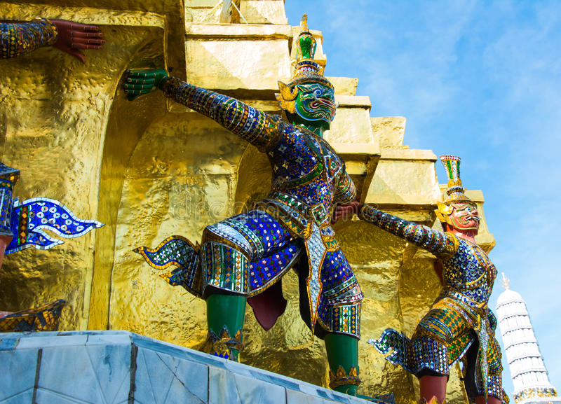 Demon Guardian at Wat Phra Kaew - the Temple Of Emerald Buddha i royalty free stock photography
