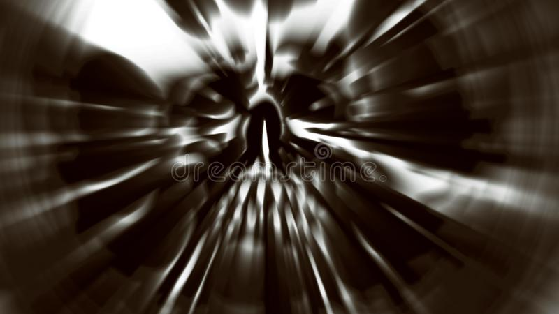 Demon head with a torn face. Illustration in genre of horror. Scary character skull stock illustration