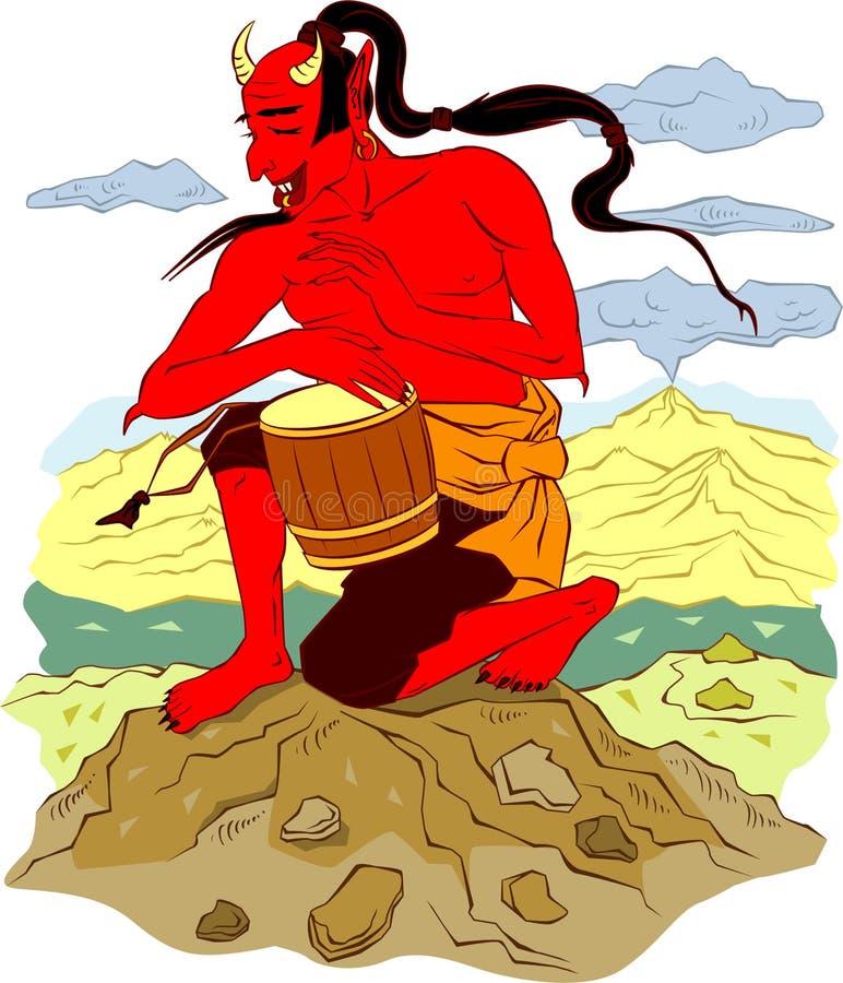 demon japanese red иллюстрация вектора