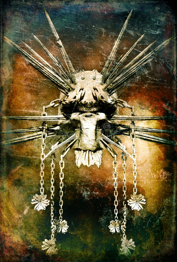 demon malujący kordziki royalty ilustracja