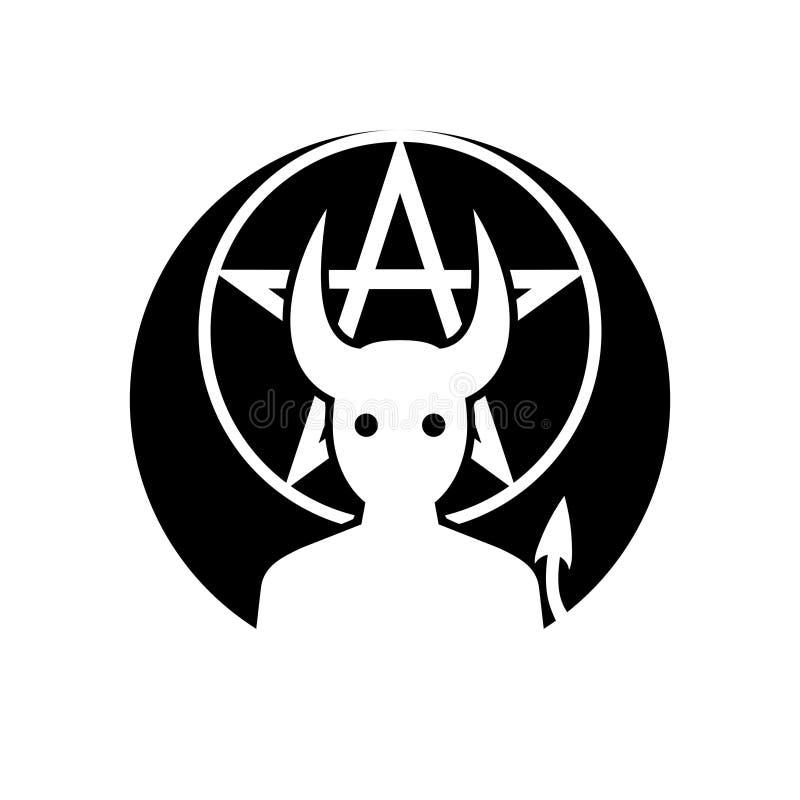 Demon odznaka, emblemata monochrom/ ilustracji
