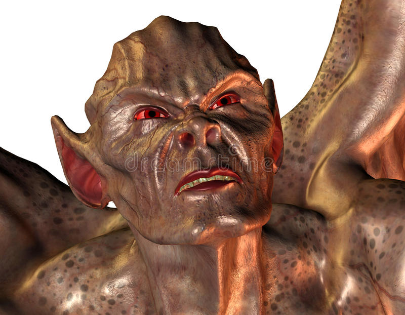 Demon with red eyes stock illustration