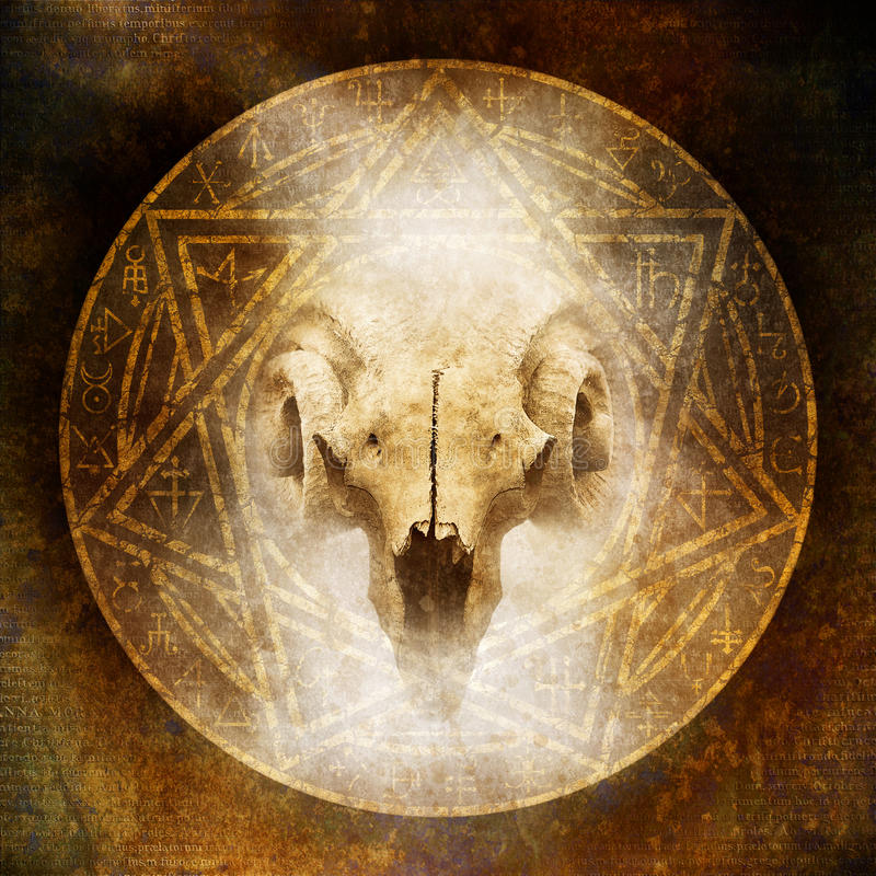Demon Ritual. With a satanic goat-horned ram skull materialising within an elaborate circular emblem of mysterious and arcane occult symbolism stock photos