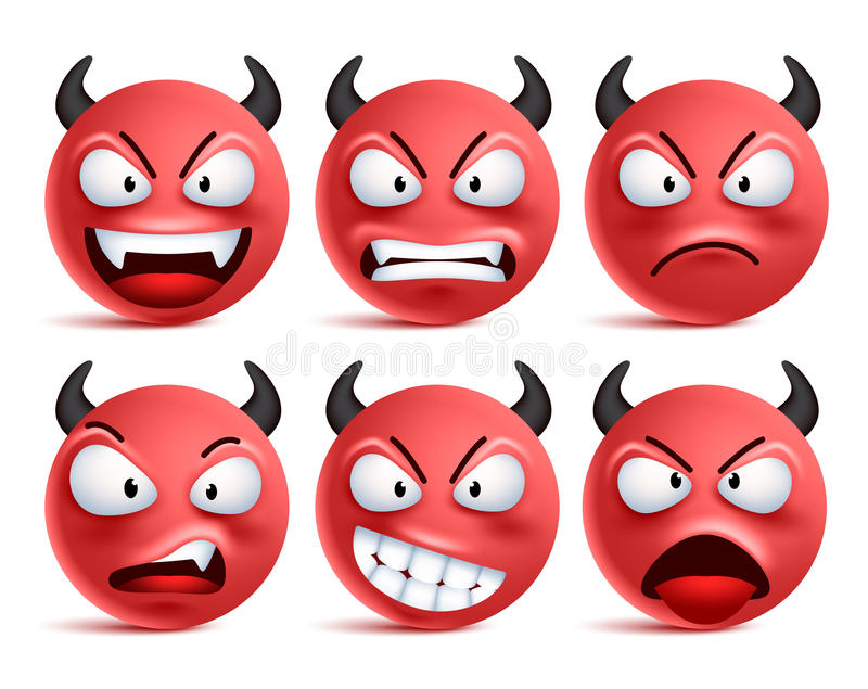 Demon smileys vector set. Bad devil smiley face or red emoticons with facial expressions royalty free illustration