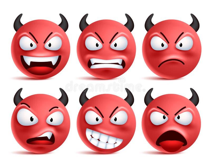 Demon smileys vectorreeks Het slechte gezicht van duivelssmiley of rode emoticons met gelaatsuitdrukkingen royalty-vrije illustratie
