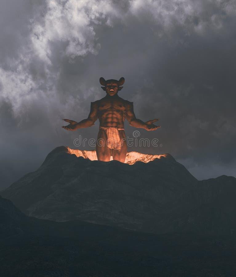 Demon som flyger ut från krater vektor illustrationer