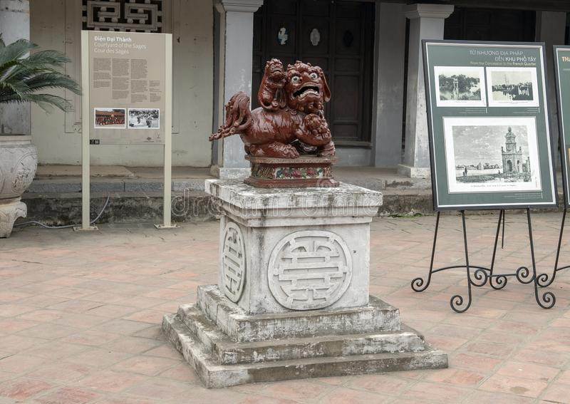 Female Chinese Foo Dog Statue, 4th courtyard, Temple of Literature, Hanoi Vietnam stock image
