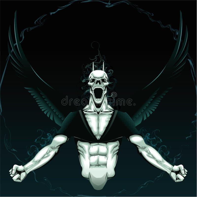Demone arrabbiato con priorità bassa. illustrazione vettoriale