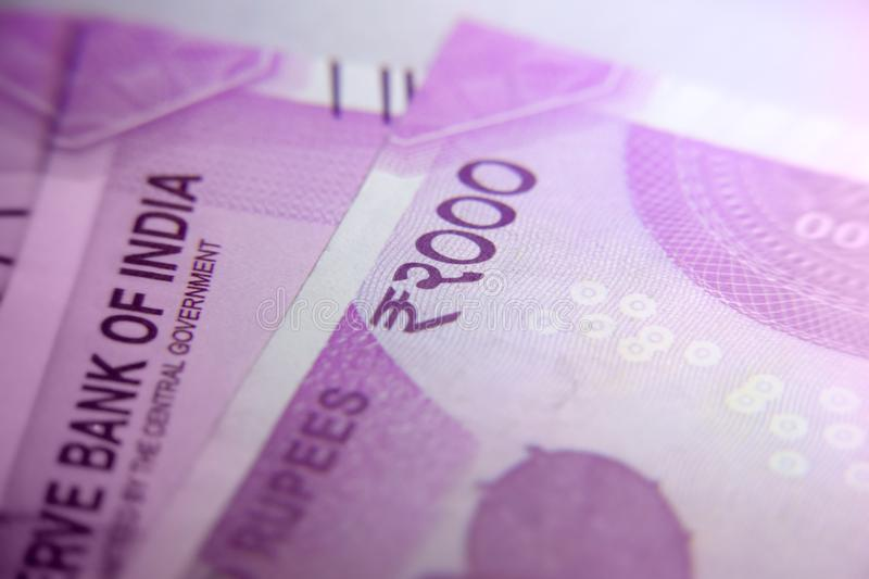 New Indian 2000 rupee currency notes royalty free stock photo
