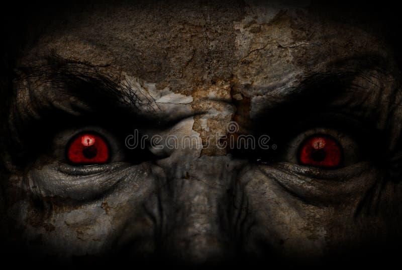 Demonic brzydka twarz patrzeje ciebie fotografia royalty free