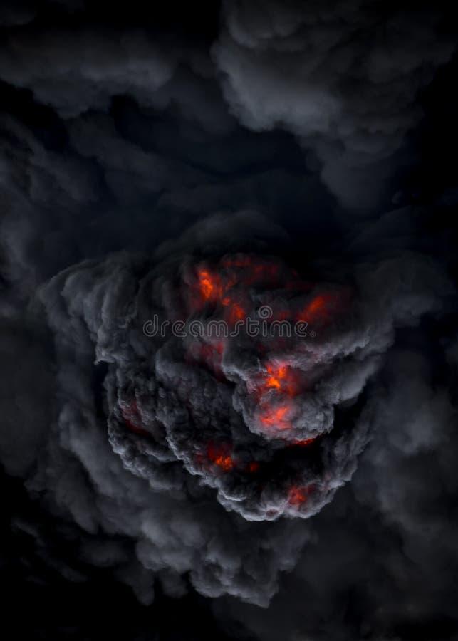 Demonio como la cara en la erupción del volcán volcánico piroclástico volcánico imagen de archivo libre de regalías