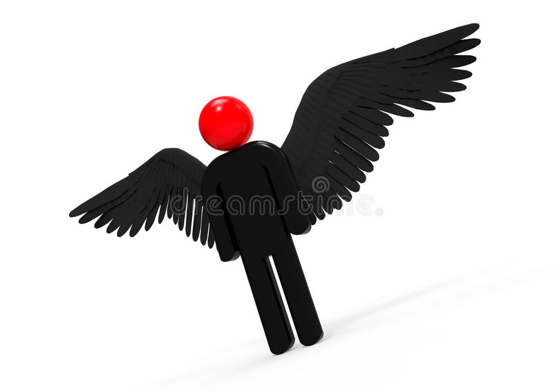 demonio con alas stock de ilustración