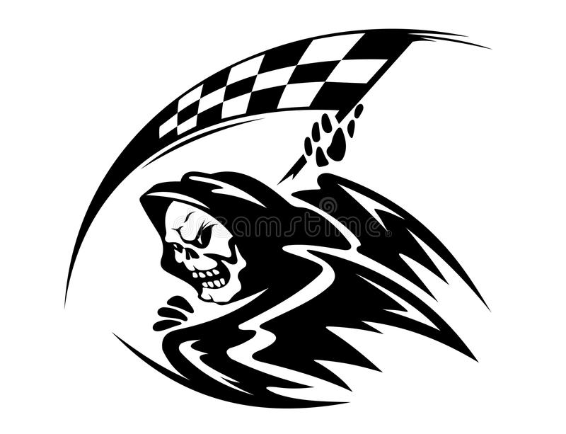 Demonio de la muerte negra con ckeckered ilustración del vector