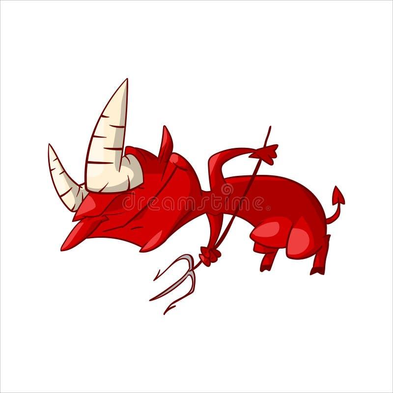 Demonio del rojo de la historieta ilustración del vector