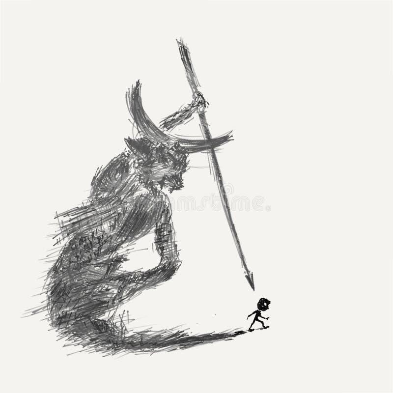 Demonio dentro ilustración del vector