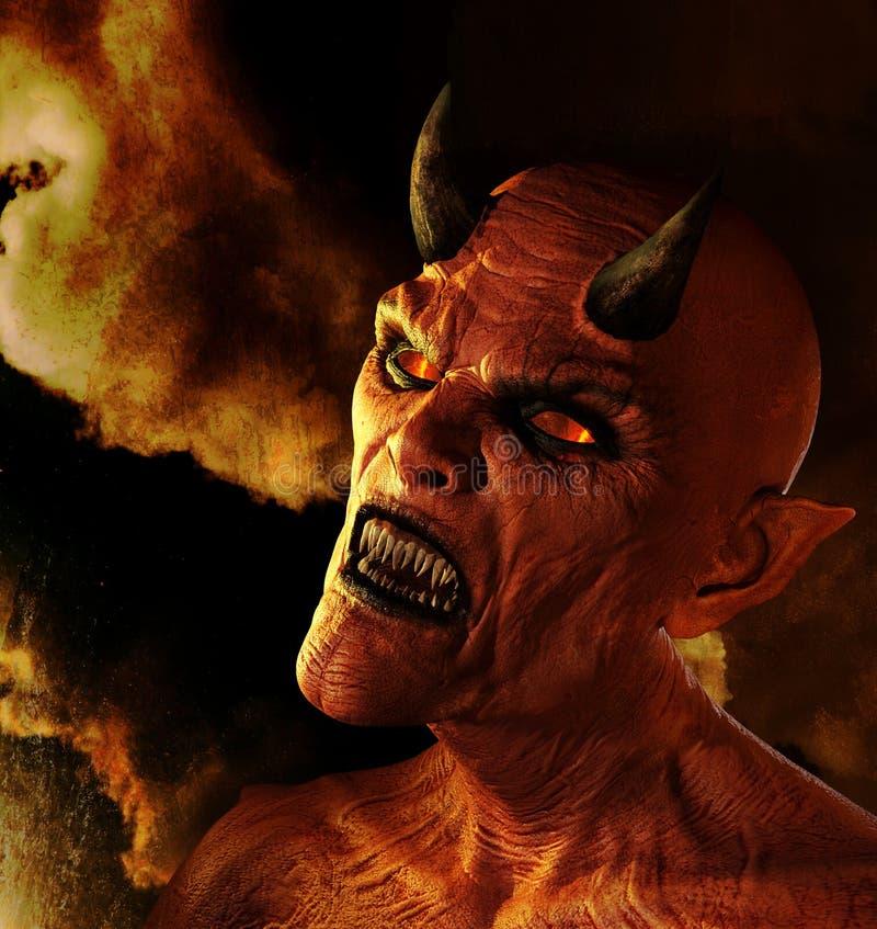Demonio que quema en infierno ilustración del vector