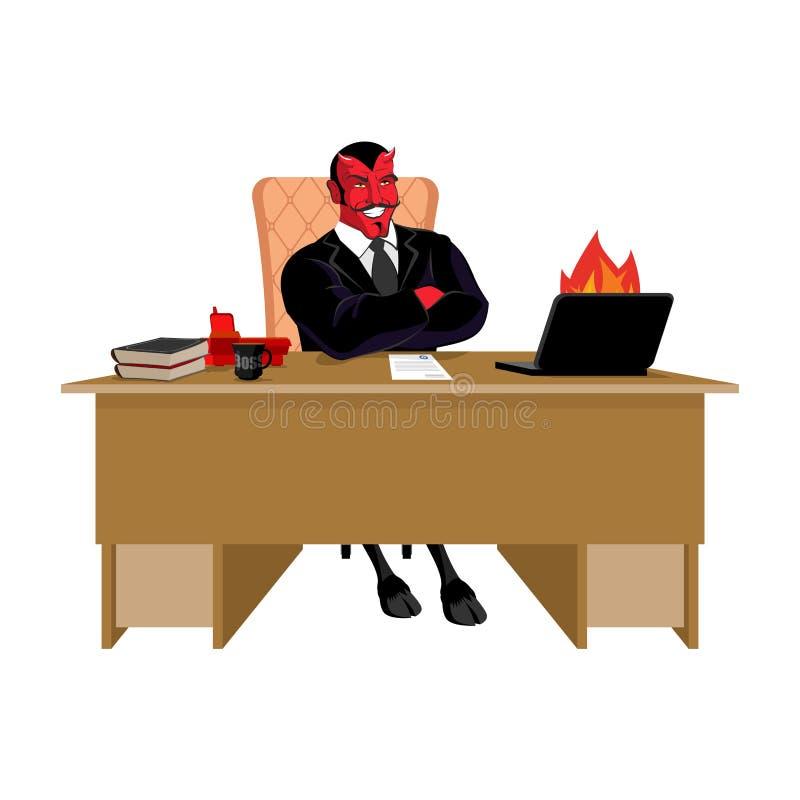 Demonio rojo Boss en la tabla del trabajo Líder de Satanás que se sienta en oficina revelador libre illustration