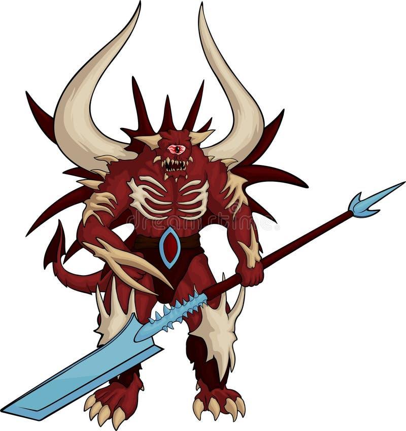 Demonio tuerto rojo fuerte stock de ilustración