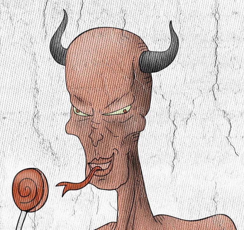 Demonio y caramelo sabroso ilustración del vector