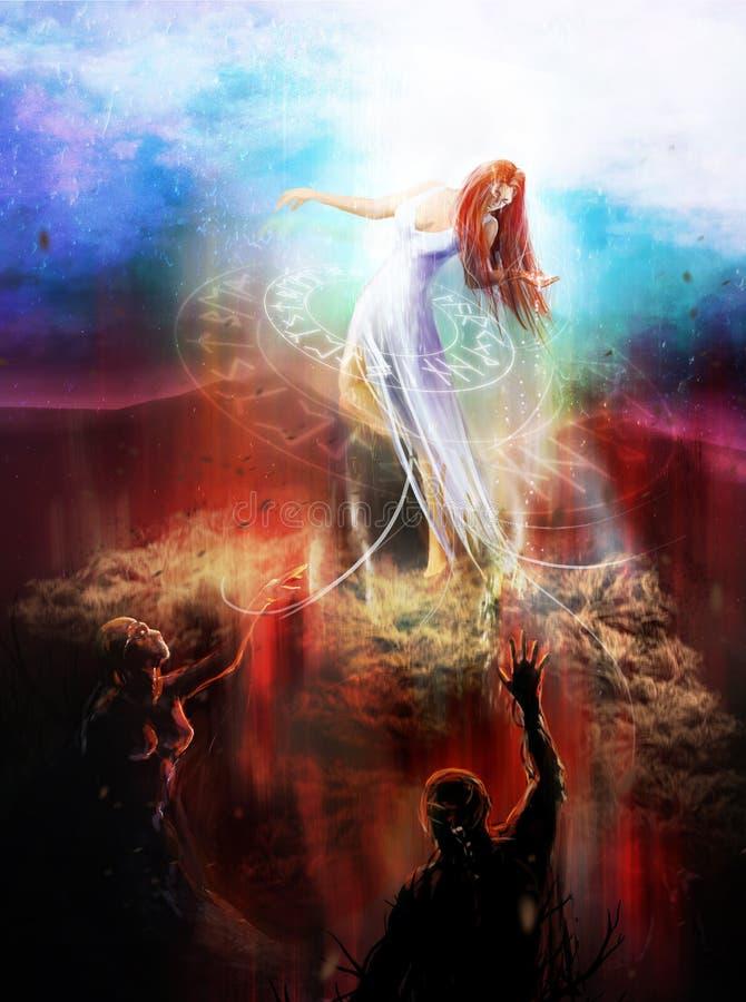 Demonios que luchan de la diosa libre illustration