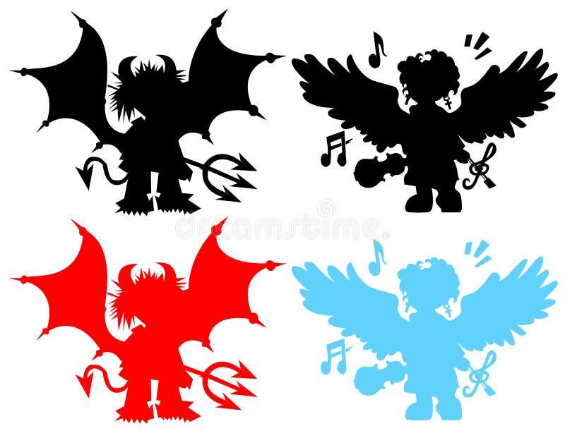 demonios y ángeles stock de ilustración
